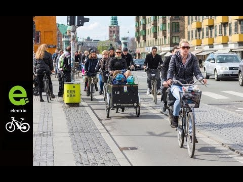 Ebike. Copenhagen, Denmark - bikes surpass number of cars in the city, daily.