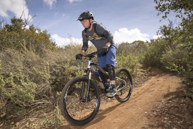 Tony Donaldson rides the Yamaha YDX-TORC electric bicycle mountain bike e-bike e-MTB emtb