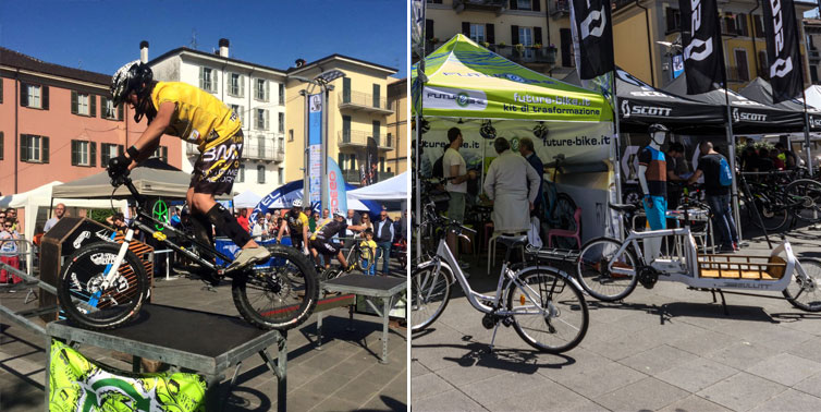atleta di trial e stand con cargo bike a bikeup