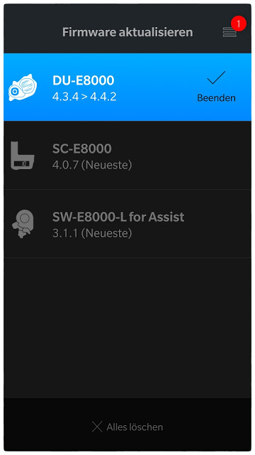 Wenn das Software-Update für den Shimano-Antrieb abgeschlossen ist, zeigt die App das an.