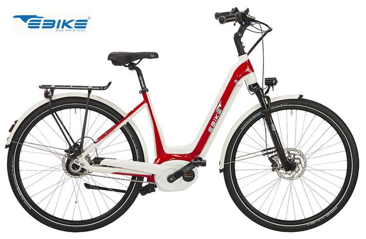 Una bici elettrica Ebike Das Original C002 Miami nella sua colorazione rosso e bianco