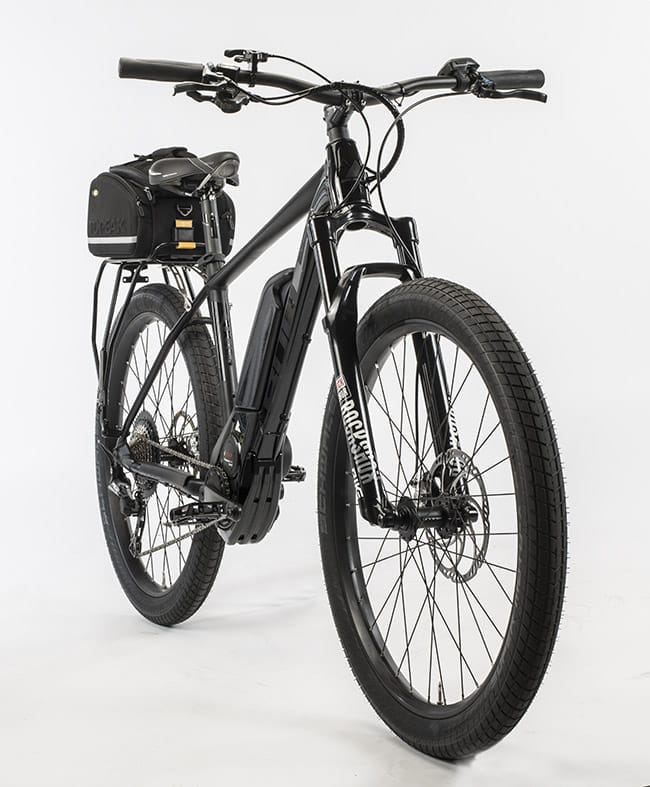 Studio photo of the Bulls Sentinel, a purpose-built electric bike built to LAPD's specifications.