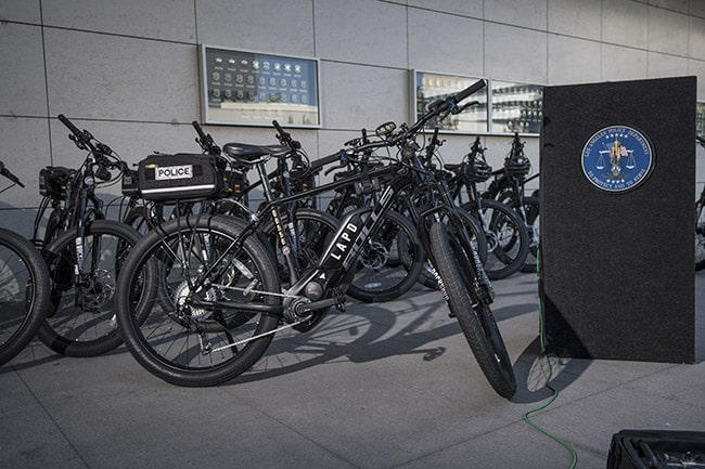 LAPD Police Chief Charlie Beck unveils their first fleet of electric bicycles to enhance patrols. ©Tony Donaldson/tdphoto.com