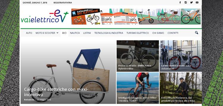 Uno screenshot della pagina bici elettriche del sito vaielettrico.it
